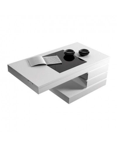 Mesa de centro moderna elevable lacado blanco 194-162