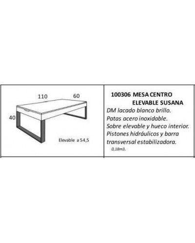 Mesa de centro moderna elevable lacado brillo 962-Susana