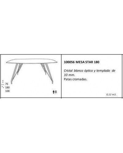 Mesa comedor cristal moderna brillo 962-056