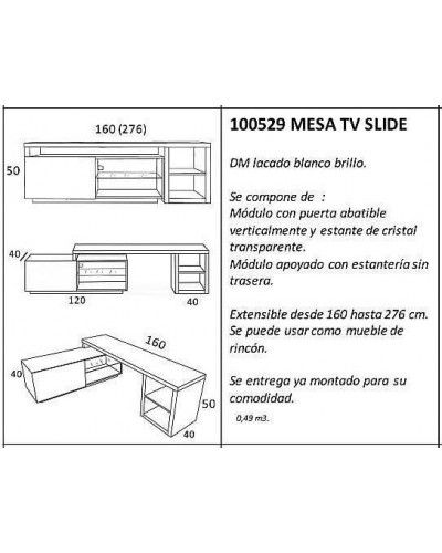 Mesa TV moderna lacado blanco 962-529
