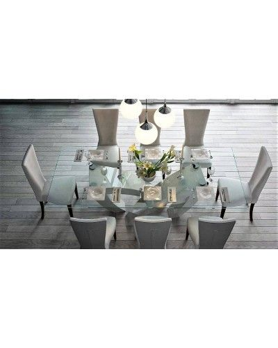 Mesa comedor moderna fija cristal lacado 397-174
