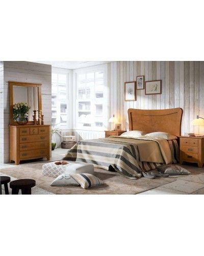 Dormitorio matrimonio colonial rustico madera lacado 79-OC282