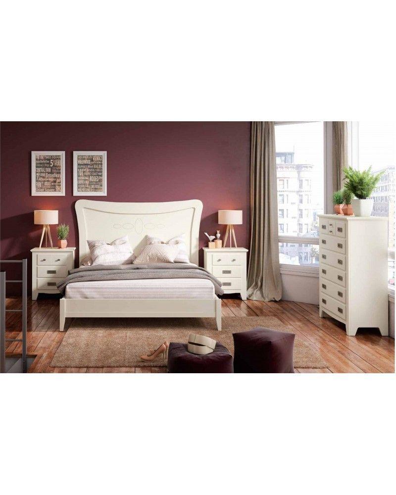 Dormitorio matrimonio colonial rustico madera lacado 79-OC284