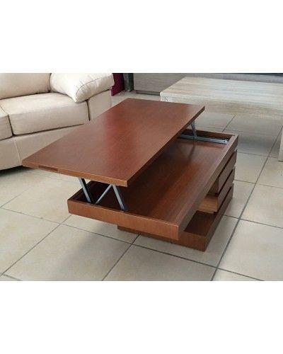 Mesa de centro moderna elevable madera 194-162
