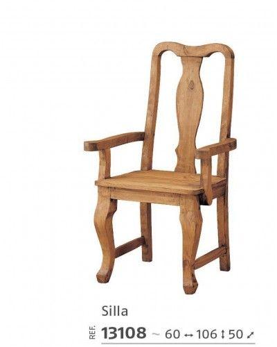 Silla comedor mexicano rustico colonial 195-13108