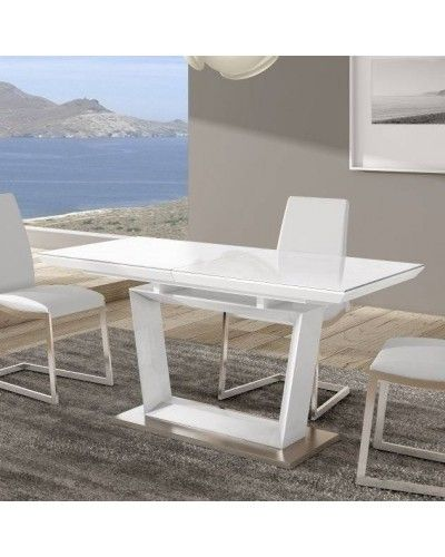 Mesa comedor moderna lacado blanco brillo 962-020