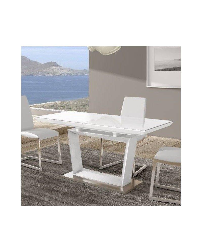 Mesa comedor moderna lacado blanco brillo 962-ana