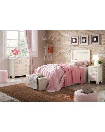 Dormitorio juvenil colonial rustico madera lacado 79-OC297