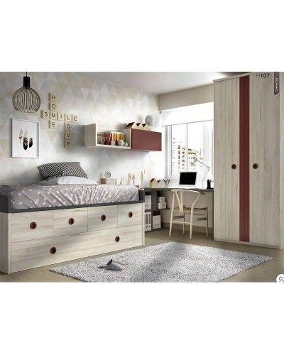 Dormitorio juvenil infantil moderno 363-107