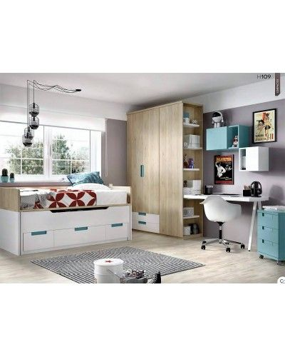 Dormitorio juvenil infantil moderno 363-109