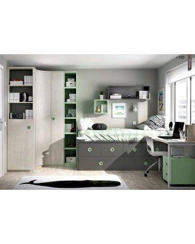 Dormitorio juvenil infantil moderno 363-110