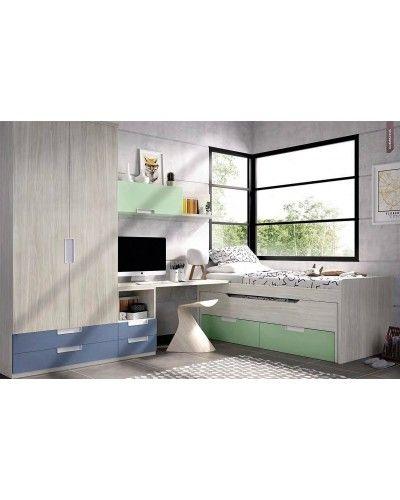 Dormitorio juvenil infantil moderno 363-114