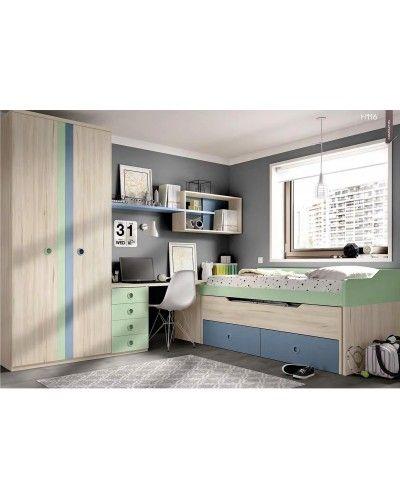 Dormitorio juvenil infantil moderno 363-116