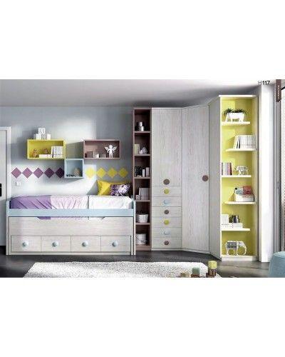 Dormitorio juvenil infantil moderno 363-117