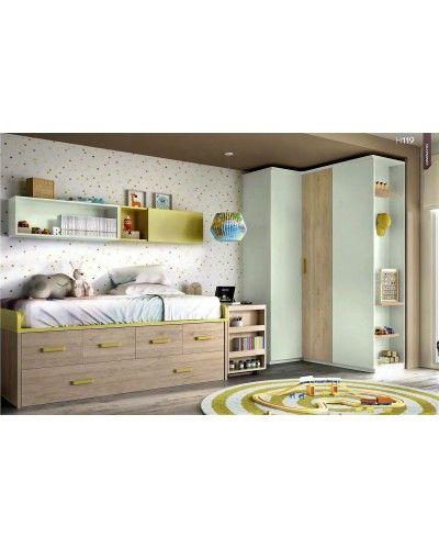 Dormitorio juvenil infantil moderno 363-119