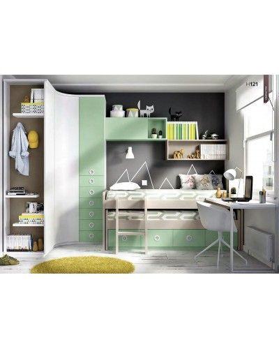 Dormitorio juvenil infantil moderno 363-121