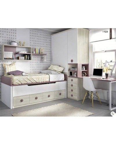 Dormitorio juvenil infantil moderno 363-123