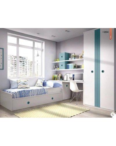 Dormitorio juvenil infantil moderno 363-204