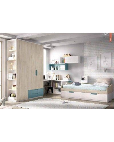 Dormitorio juvenil infantil moderno 363-205
