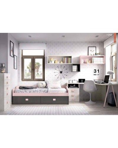 Dormitorio juvenil infantil moderno 363-212