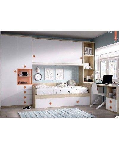 Dormitorio juvenil infantil moderno 363-217
