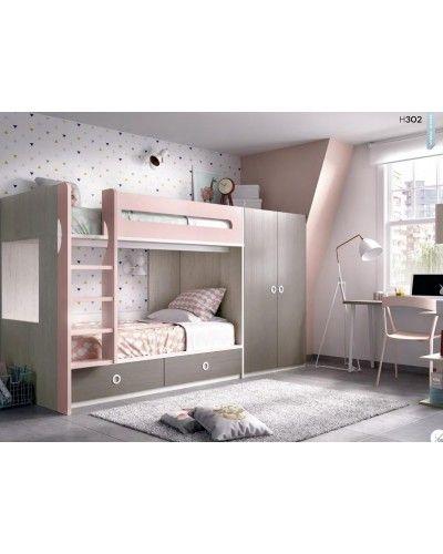 Litera dormitorio juvenil infantil moderno 363-302