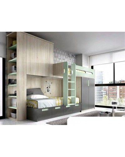 Litera dormitorio juvenil infantil moderno 363-315