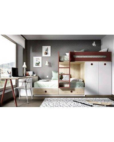 Litera dormitorio juvenil infantil moderno 363-317