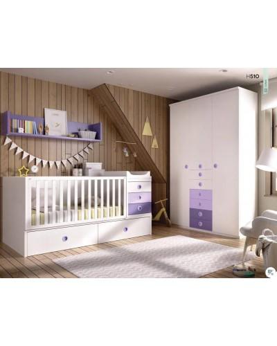 Cuna convertible dormitorio juvenil infantil 363-510
