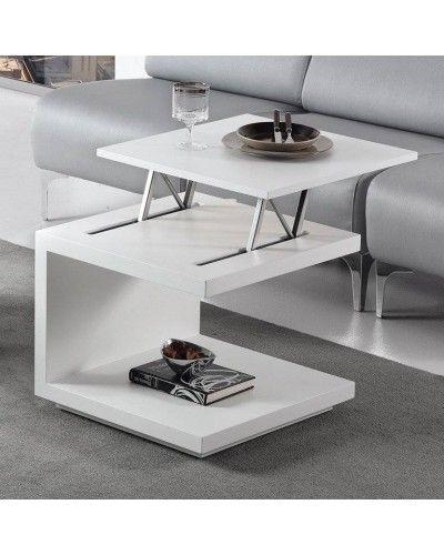 Mesa rincón centro moderna elevable blanco 194-460