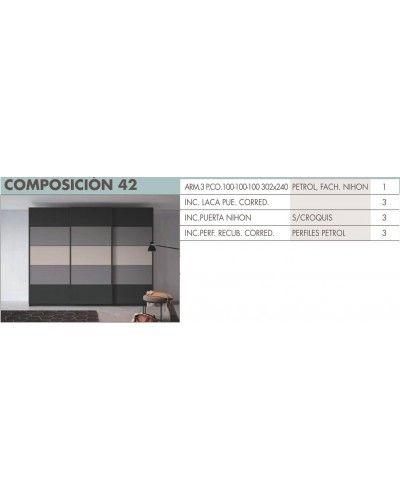 Armario puertas correderas moderno beladur 270-BH42