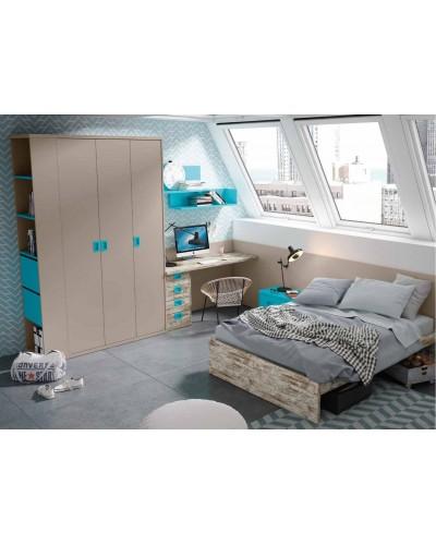 Cama dormitorio juvenil infantil 224-607