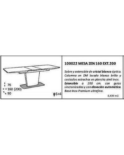 Mesa comedor moderna lacado blanco brillo 962-022