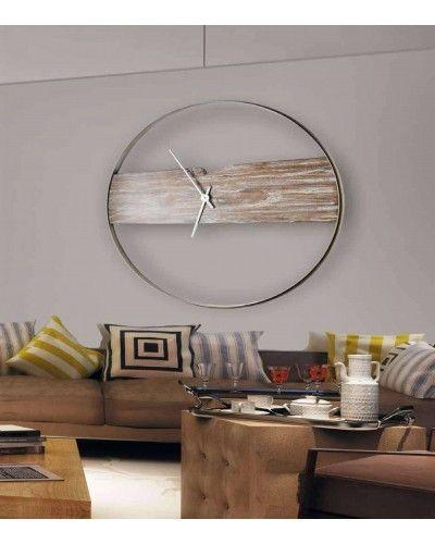 Reloj pared redondo madera metal diseño 1362-05