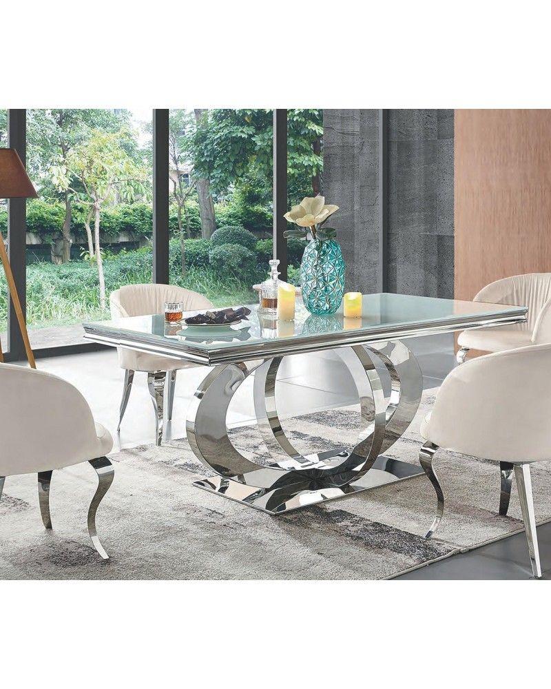 Mesa comedor acero moderna fija cristal 1362 955 mobles - Mesas modernas de cristal ...