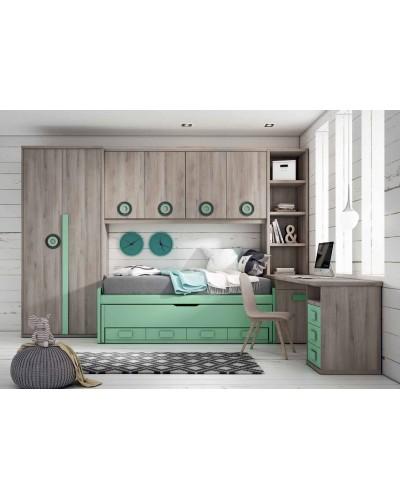 Dormitorio juvenil infantil moderno 224-104