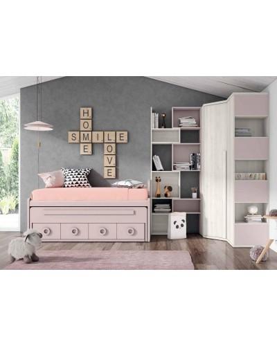 Dormitorio juvenil infantil moderno 224-107