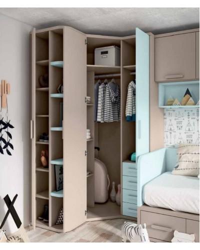 Dormitorio juvenil infantil moderno 224-207