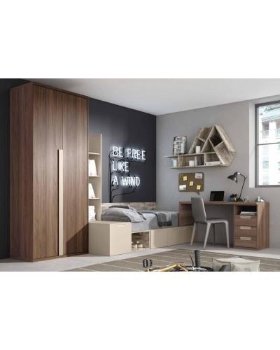 Dormitorio juvenil infantil moderno 224-306