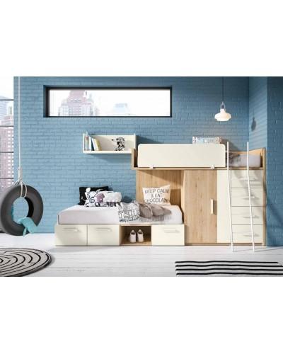 Literas tren dormitorio juvenil infantil 224-505