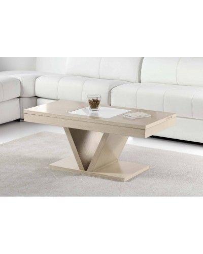 Mesa de centro moderna elevable madera 194-252