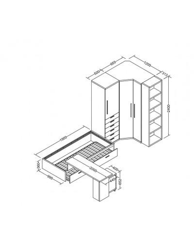 Cama nido dormitorio juvenil infantil  moderno 1194-M12