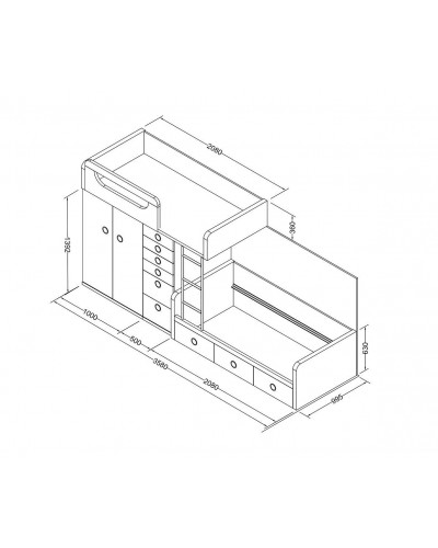 Litera tren dormitorio juvenil infantil  moderno 1194-M14