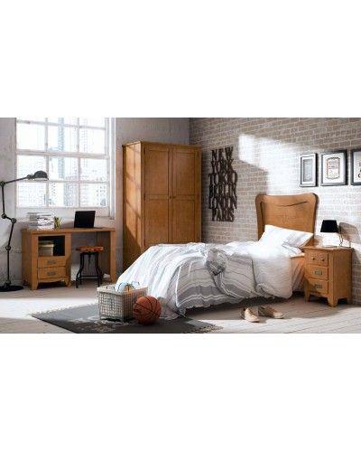 Dormitorio juvenil colonial rustico madera lacado 79-OC291