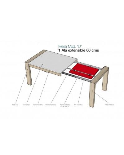 Mesa de comedor moderna 1 extensible 301-KU1