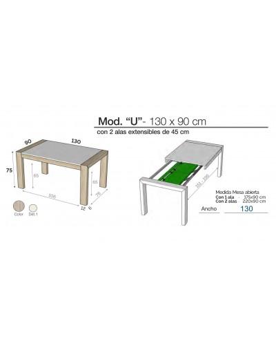 Mesa de comedor moderna 2 extensibles 301-K02