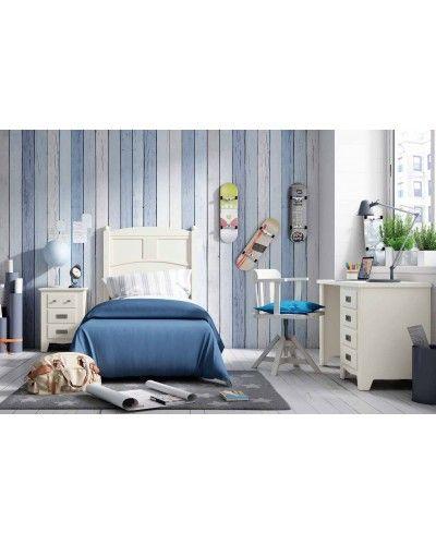 Dormitorio juvenil colonial rustico madera lacado 79-OC295