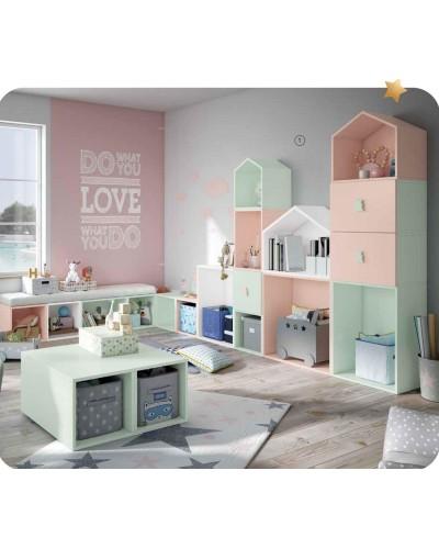 Dormitorio Juvenil infantil colonial moderno diseño 1374-02