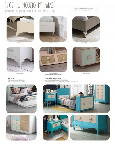 Dormitorio Juvenil infantil colonial moderno diseño 1374-09
