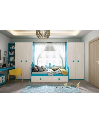 Dormitorio Juvenil infantil colonial moderno diseño 1374-14